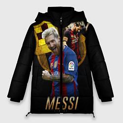 Женская зимняя 3D-куртка с капюшоном с принтом Messi Star, цвет: 3D-черный, артикул: 10126863506071 — фото 1
