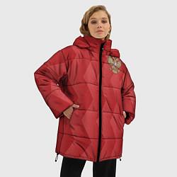 Женская зимняя 3D-куртка с капюшоном с принтом Сборная России, цвет: 3D-черный, артикул: 10132432906071 — фото 2
