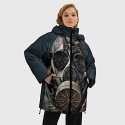 Женская зимняя 3D-куртка с капюшоном с принтом STALKER: Mask, цвет: 3D-черный, артикул: 10135205106071 — фото 2