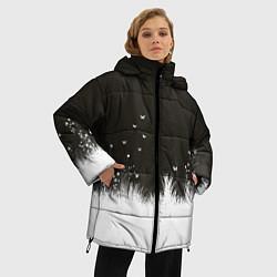 Женская зимняя 3D-куртка с капюшоном с принтом Ночная полянка, цвет: 3D-черный, артикул: 10135253106071 — фото 2