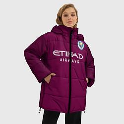 Женская зимняя 3D-куртка с капюшоном с принтом Man City FC: Away 17/18, цвет: 3D-черный, артикул: 10137896106071 — фото 2