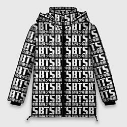 Женская зимняя 3D-куртка с капюшоном с принтом BTS K-pop pattern, цвет: 3D-черный, артикул: 10138358906071 — фото 1