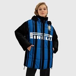 Женская зимняя 3D-куртка с капюшоном с принтом Inter FC: Home 17/18, цвет: 3D-черный, артикул: 10139225106071 — фото 2