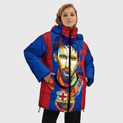 Женская зимняя 3D-куртка с капюшоном с принтом Lionel Messi, цвет: 3D-черный, артикул: 10141373106071 — фото 2
