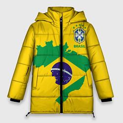 Женская зимняя 3D-куртка с капюшоном с принтом Сборная Бразилии: желтая, цвет: 3D-черный, артикул: 10143140306071 — фото 1