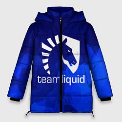 Женская зимняя 3D-куртка с капюшоном с принтом Team Liquid: Polygons, цвет: 3D-черный, артикул: 10143164106071 — фото 1