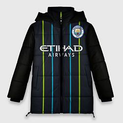 Женская зимняя 3D-куртка с капюшоном с принтом FC Manchester City: Away 18/19, цвет: 3D-черный, артикул: 10146281106071 — фото 1