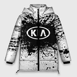 Женская зимняя 3D-куртка с капюшоном с принтом KIA: Black Spray, цвет: 3D-черный, артикул: 10147678906071 — фото 1