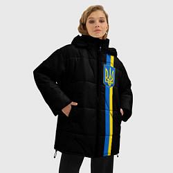 Женская зимняя 3D-куртка с капюшоном с принтом Украина, цвет: 3D-черный, артикул: 10148452306071 — фото 2