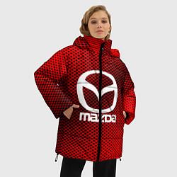 Женская зимняя 3D-куртка с капюшоном с принтом Mazda: Red Carbon, цвет: 3D-черный, артикул: 10150547906071 — фото 2
