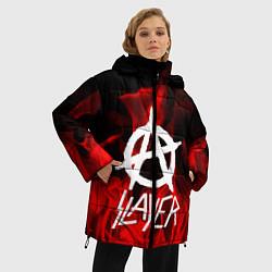 Женская зимняя 3D-куртка с капюшоном с принтом Slayer Flame, цвет: 3D-черный, артикул: 10151631306071 — фото 2