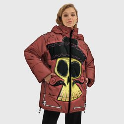 Женская зимняя 3D-куртка с капюшоном с принтом Dia de los Muertos, цвет: 3D-черный, артикул: 10152402306071 — фото 2