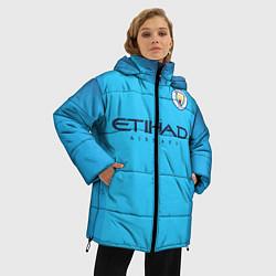 Женская зимняя 3D-куртка с капюшоном с принтом FC Man City: Home 18-19, цвет: 3D-черный, артикул: 10152567106071 — фото 2