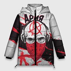 Женская зимняя 3D-куртка с капюшоном с принтом Ария: Анархия, цвет: 3D-черный, артикул: 10152628106071 — фото 1