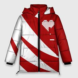 Женская зимняя 3D-куртка с капюшоном с принтом Игра в сердца, цвет: 3D-черный, артикул: 10152700106071 — фото 1