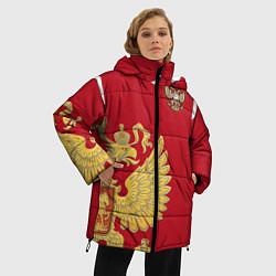 Женская зимняя 3D-куртка с капюшоном с принтом Сборная России: эксклюзив, цвет: 3D-черный, артикул: 10154339306071 — фото 2