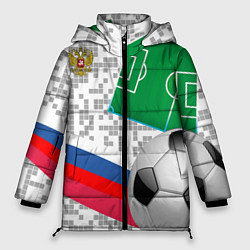 Женская зимняя 3D-куртка с капюшоном с принтом Русский футбол, цвет: 3D-черный, артикул: 10156028106071 — фото 1