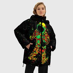 Куртка зимняя женская Космонавт с кальяном цвета 3D-черный — фото 2