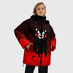 Женская зимняя 3D-куртка с капюшоном с принтом Kumamon: Hell Flame, цвет: 3D-черный, артикул: 10162548706071 — фото 2