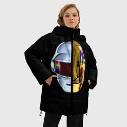 Женская зимняя 3D-куртка с капюшоном с принтом Daft Punk: Smile Helmet, цвет: 3D-черный, артикул: 10171252106071 — фото 2