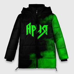 Женская зимняя 3D-куртка с капюшоном с принтом Ария, цвет: 3D-черный, артикул: 10182320906071 — фото 1