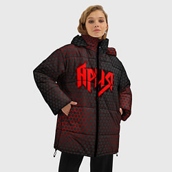 Женская зимняя 3D-куртка с капюшоном с принтом Ария, цвет: 3D-черный, артикул: 10182323506071 — фото 2