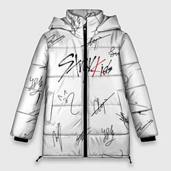 Женская зимняя 3D-куртка с капюшоном с принтом STRAY KIDS АВТОГРАФЫ, цвет: 3D-черный, артикул: 10184333906071 — фото 1