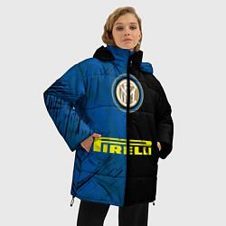 Женская зимняя 3D-куртка с капюшоном с принтом Интер, цвет: 3D-черный, артикул: 10209022506071 — фото 2