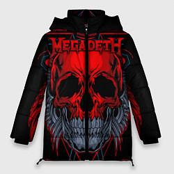 Женская зимняя 3D-куртка с капюшоном с принтом Megadeth, цвет: 3D-черный, артикул: 10218182506071 — фото 1