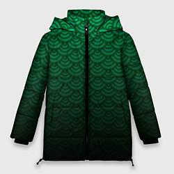Куртка зимняя женская Узор зеленая чешуя дракон - фото 1
