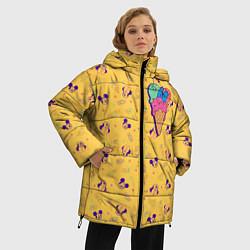 Женская зимняя 3D-куртка с капюшоном с принтом Минни Маус мороженое, цвет: 3D-черный, артикул: 10250066506071 — фото 2