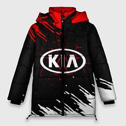 Женская зимняя 3D-куртка с капюшоном с принтом KIA, цвет: 3D-черный, артикул: 10253982706071 — фото 1