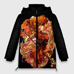 Женская зимняя 3D-куртка с капюшоном с принтом Аска Евангелион, цвет: 3D-черный, артикул: 10282335906071 — фото 1