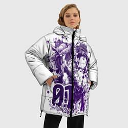 Женская зимняя 3D-куртка с капюшоном с принтом Евангелион, EVA 01, цвет: 3D-черный, артикул: 10288265506071 — фото 2
