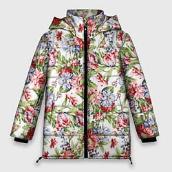 Женская зимняя 3D-куртка с капюшоном с принтом Цветы, цвет: 3D-черный, артикул: 10063853306071 — фото 1