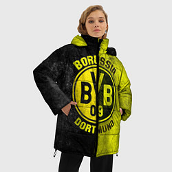 Женская зимняя 3D-куртка с капюшоном с принтом Borussia Dortmund, цвет: 3D-черный, артикул: 10063904606071 — фото 2