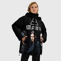 Женская зимняя 3D-куртка с капюшоном с принтом 30 seconds to mars, цвет: 3D-черный, артикул: 10063908806071 — фото 2
