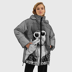 Женская зимняя 3D-куртка с капюшоном с принтом Кобейн в очках, цвет: 3D-черный, артикул: 10063914506071 — фото 2