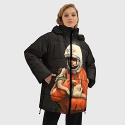 Женская зимняя 3D-куртка с капюшоном с принтом Гагарин с лайкой, цвет: 3D-черный, артикул: 10064259506071 — фото 2