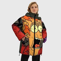 Женская зимняя 3D-куртка с капюшоном с принтом Frai Horrified, цвет: 3D-черный, артикул: 10064261906071 — фото 2
