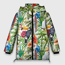 Женская зимняя куртка Попугаи в тропиках