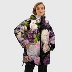Женская зимняя 3D-куртка с капюшоном с принтом Весенние цветы, цвет: 3D-черный, артикул: 10067033306071 — фото 2