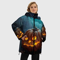 Женская зимняя 3D-куртка с капюшоном с принтом Тыква, цвет: 3D-черный, артикул: 10071139706071 — фото 2