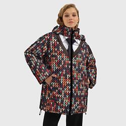 Куртка зимняя женская Вязанный узор с галстуком цвета 3D-черный — фото 2