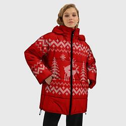 Куртка зимняя женская Олени под елками - фото 2