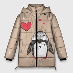 Куртка зимняя женская Пингвин с шариком цвета 3D-черный — фото 1