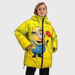 Куртка зимняя женская Цветочек цвета 3D-черный — фото 2