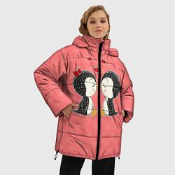 Женская зимняя 3D-куртка с капюшоном с принтом Влюбленные пингвины, цвет: 3D-черный, артикул: 10081995506071 — фото 2