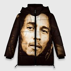 Куртка зимняя женская Взгляд Боба Марли цвета 3D-черный — фото 1