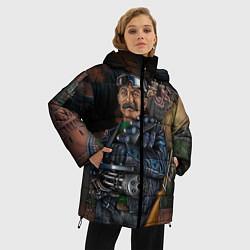 Женская зимняя 3D-куртка с капюшоном с принтом Сталин военный, цвет: 3D-черный, артикул: 10082408306071 — фото 2